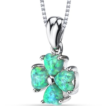 - 1.50 Carat T.G.W. Heart Cut Green Opal Rhodium over Sterling Silver Pendant, 18