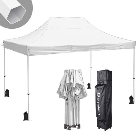 Instahibit® 10x15' Pop Up Canopy Tent 550D Commercial Instant Shelter Trade Fair 4 Sandbags White CPAI-8 Certification