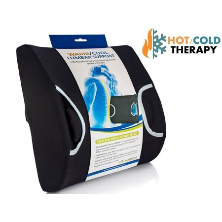 Lumbar Support Pillow - Vaunn Medical Lumbar Back Support Cushion Pillow with Warm/Cool Gel Pad and Removable Firm Insert