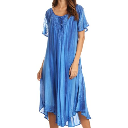 Long Sleeve Caftan - Sakkas Myani Two Tone Embroidered Sheer Cap Sleeve Caftan Long Dress | Cover Up - Blue - One Size Regular