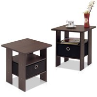 Furinno Petite End Table Bedroom Night Stand Set of 2 (Dark Brown)