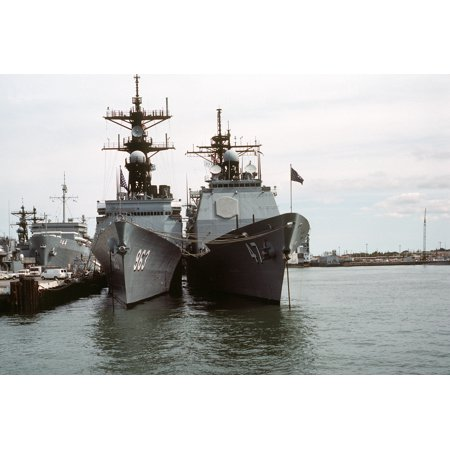 Canvas Print A bow view of the destroyer USS SPRUANCE (DD 963), left, and the guided missile cruiser USS TICONDER Stretched Canvas 10 x 14 (Spruance Destroyer)