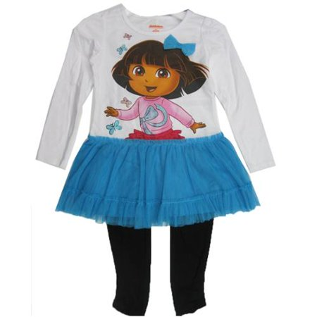 Little Girls Blue Black Dora the Explorer Skirted 2 Pc Leggings Set - The Explorer Girls