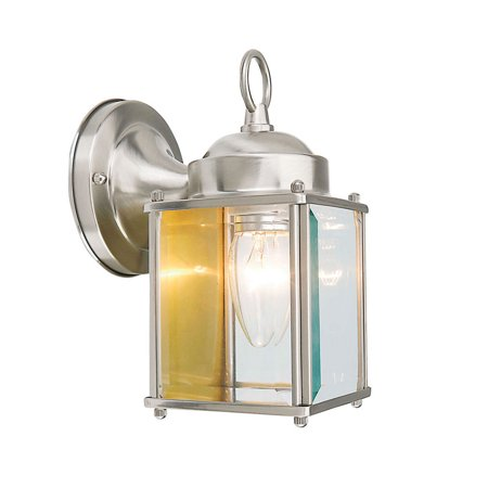 Design House 507863 Coach 1-Light Indoor/Outdoor Clear Glass Wall Light, Satin Nickel Brass Coach Lights