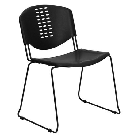 Flash Furniture HERCULES Series 400 lb. Capacity Black Plastic Stack Chair with Black (400 Stack)
