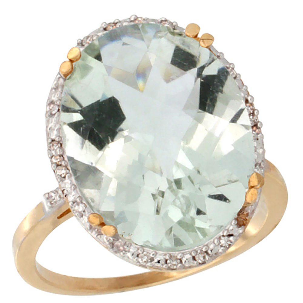 WorldJewels 10k Yellow Gold Natural Green Amethyst Ring L...