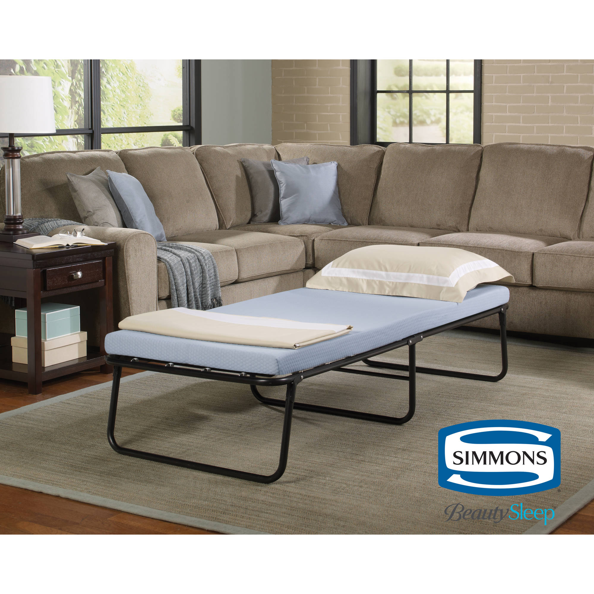 simmons beautysleep folding foldaway extra portable guest bed cot with memory foam mattress multiple sizes walmartcom