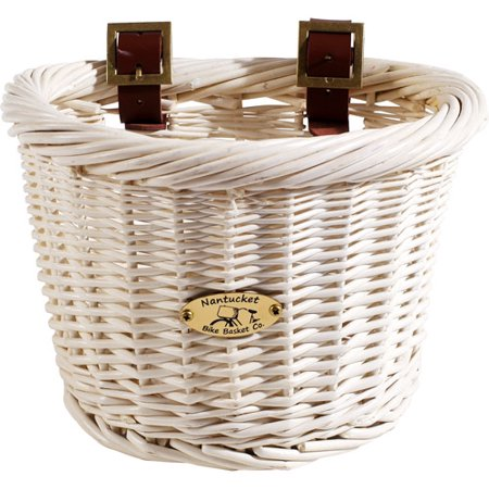 Nantucket Bicycle Basket Co  Cruiser Collection   Child Size Bicycle Basket  White