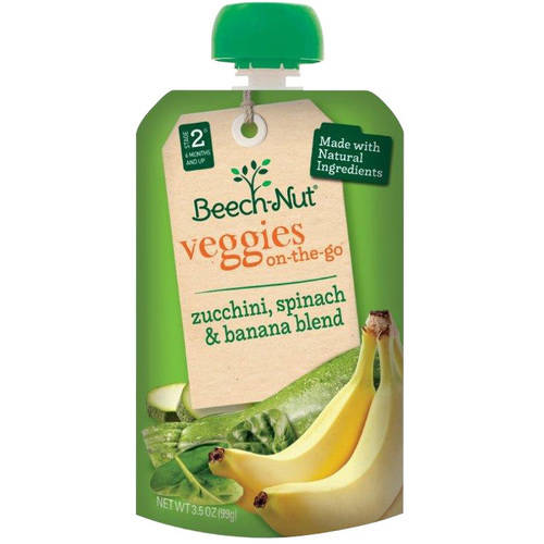 Beech-Nut Veggies on-the-Go Zucchini, Spinach & Banana Blend Baby Food, 3.5 oz, (Pack of 12)