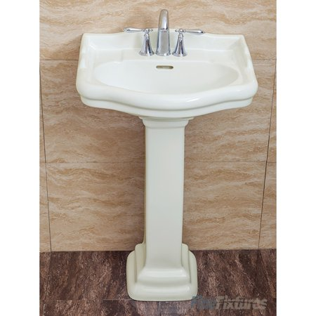 Fine Fixtures , Roosevelt Biscuit Pedestal Sink - Vitreous China Ceramic Material (4 Inch Faucet Spread Hole) 4' Centerset Vitreous China