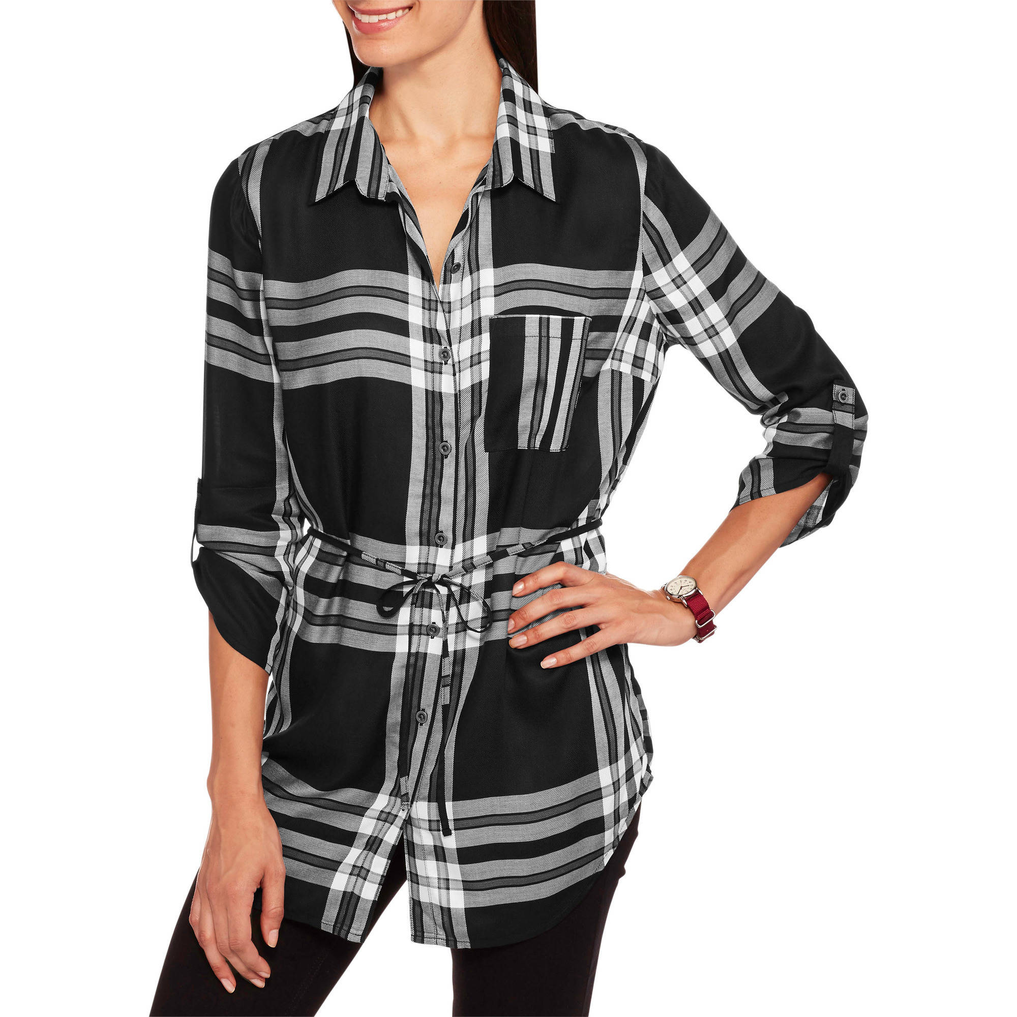 Faded Glory Womens Long Plaid Belted Tunic