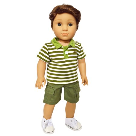 My Brittany's Army Green Polo and Shorts Set for American Girl Boy Dolls and My Life as Dolls- 18 Inch American Girl Doll Clothes- Doll is not - Army Girls