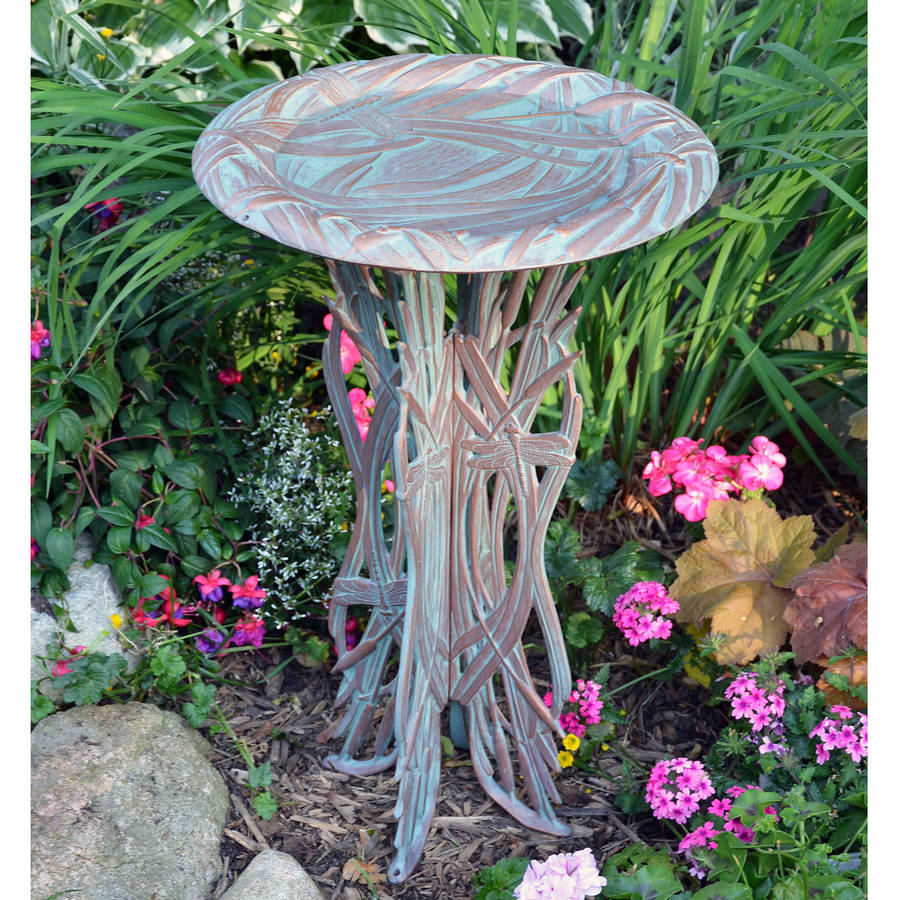 Dragonfly Birdbath and Pedestal, Copper Verdigris by