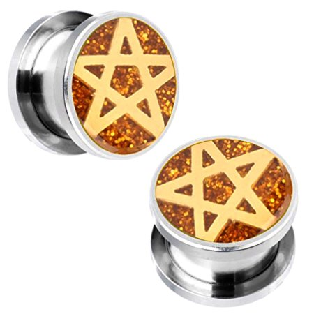BodyJ4You Plugs Ear Gauges Screw Fit Steel Tunnels 00G Pagan Star Logo Double Flare Expander