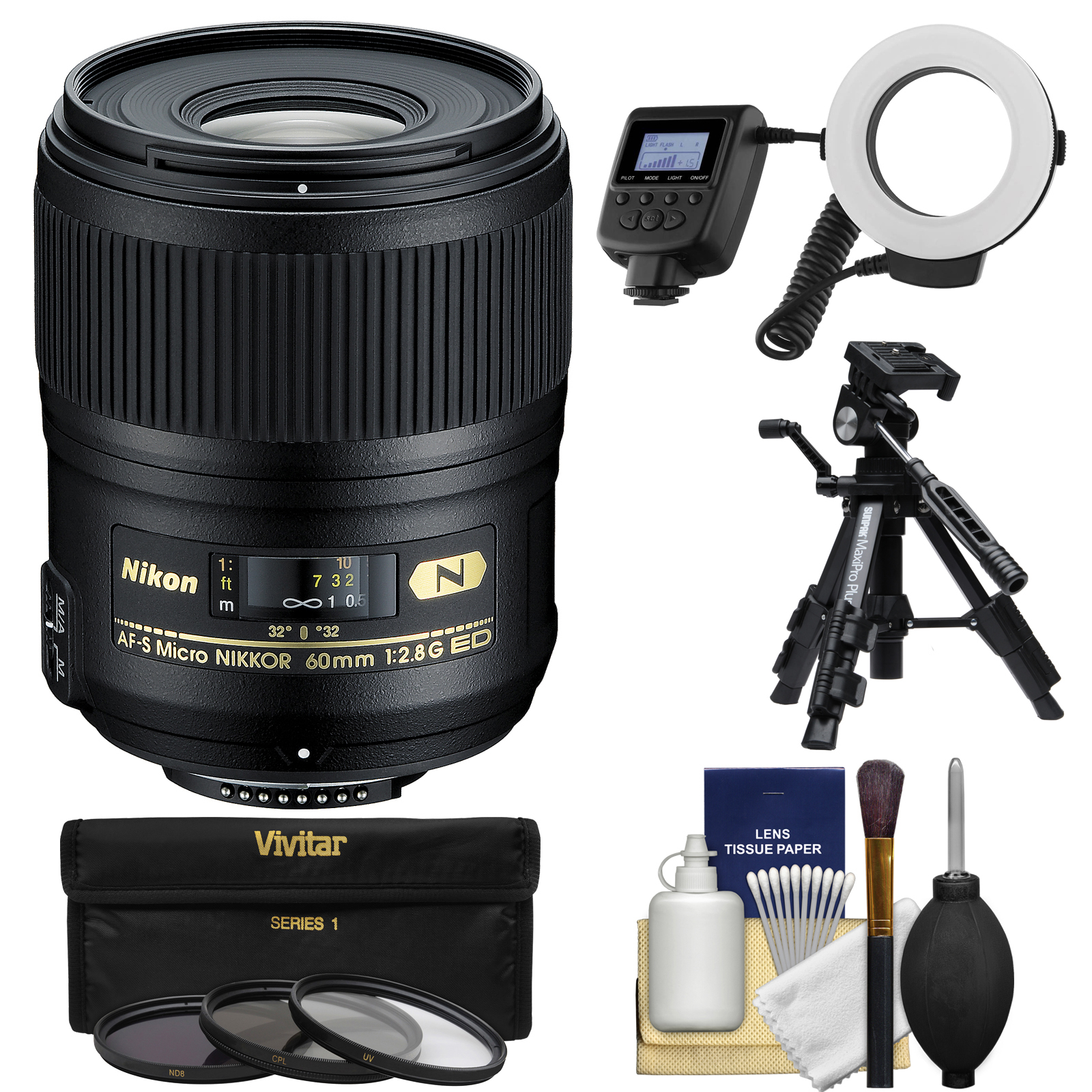 Nikon 60mm f/2.8G AF-S ED Micro-Nikkor Lens with Ringlight + Tripod + 3 Filters + Kit for D3200, D3300, D5200, D5300, D7000, D7100, D610, D800, D810, D4s DSLR Cameras