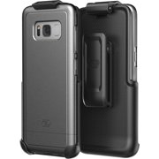 Galaxy S8 Belt Case and Holster Clip (secure fit) SlimShield Armor By Encased (Samsung S8) (Metallic Gray)