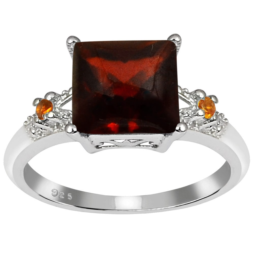 Orchid Jewelry Mfg Inc Orchid Jewelry's Sterling Silver 3 1/5ct TGW Genuine Garnet and Citrine Ring
