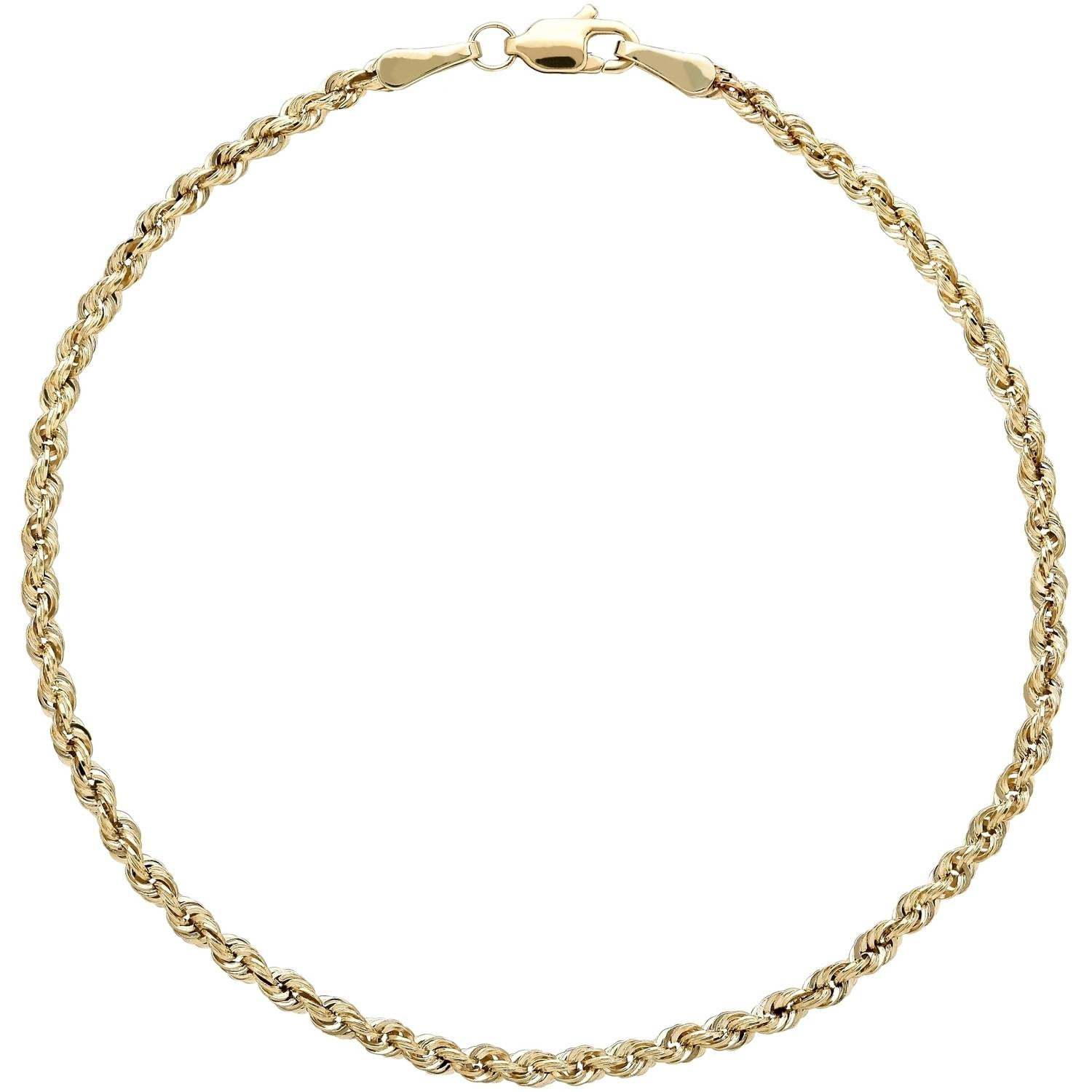 Simply Gold 10kt Yellow Gold 2.5mm Glitter Rope Bracelet