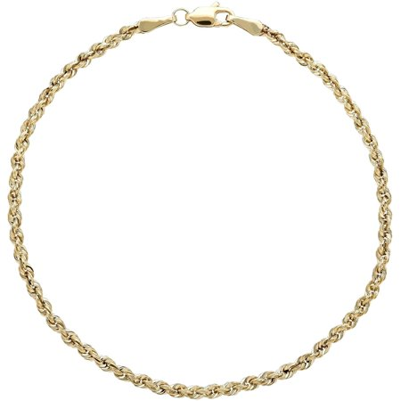 10kt Yellow Gold 2.5mm Glitter Rope (Rope Strand Bracelet)