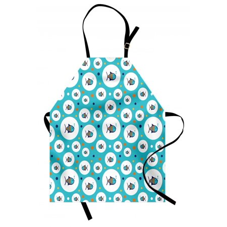 Colorful Sea Bubbles (Fish Apron Colorful Spotty Pattern with Sea Animals inside Bubble Shapes Aquarium Ocean Wildlife, Unisex Kitchen Bib Apron with Adjustable Neck for Cooking Baking Gardening, Multicolor, by)