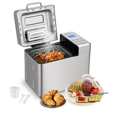 Costway 2 LB Automatic Bread Maker Stainless Steel Programmable Bread Machine Silver ()