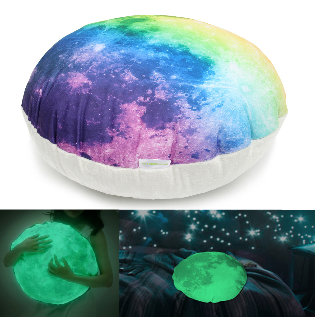 M.way Luminous Glow in the Dark Moon Throw Pillow Cushion Backrest Bed Seat Support Sofa Bed Home Decor Gifts Living Room