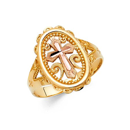 Oval Cross Ring Solid 14k Yellow Rose Gold Religious Stamp Band Filigree Design Two Tone 18MM