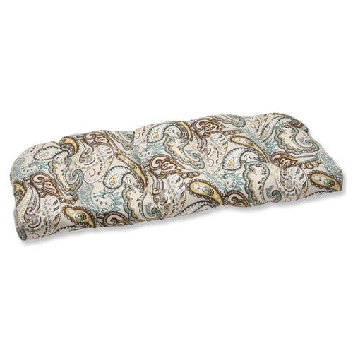 Pillow Perfect Outdoor/ Indoor Tamara Paisley Quartz Wicker Loveseat Cushion