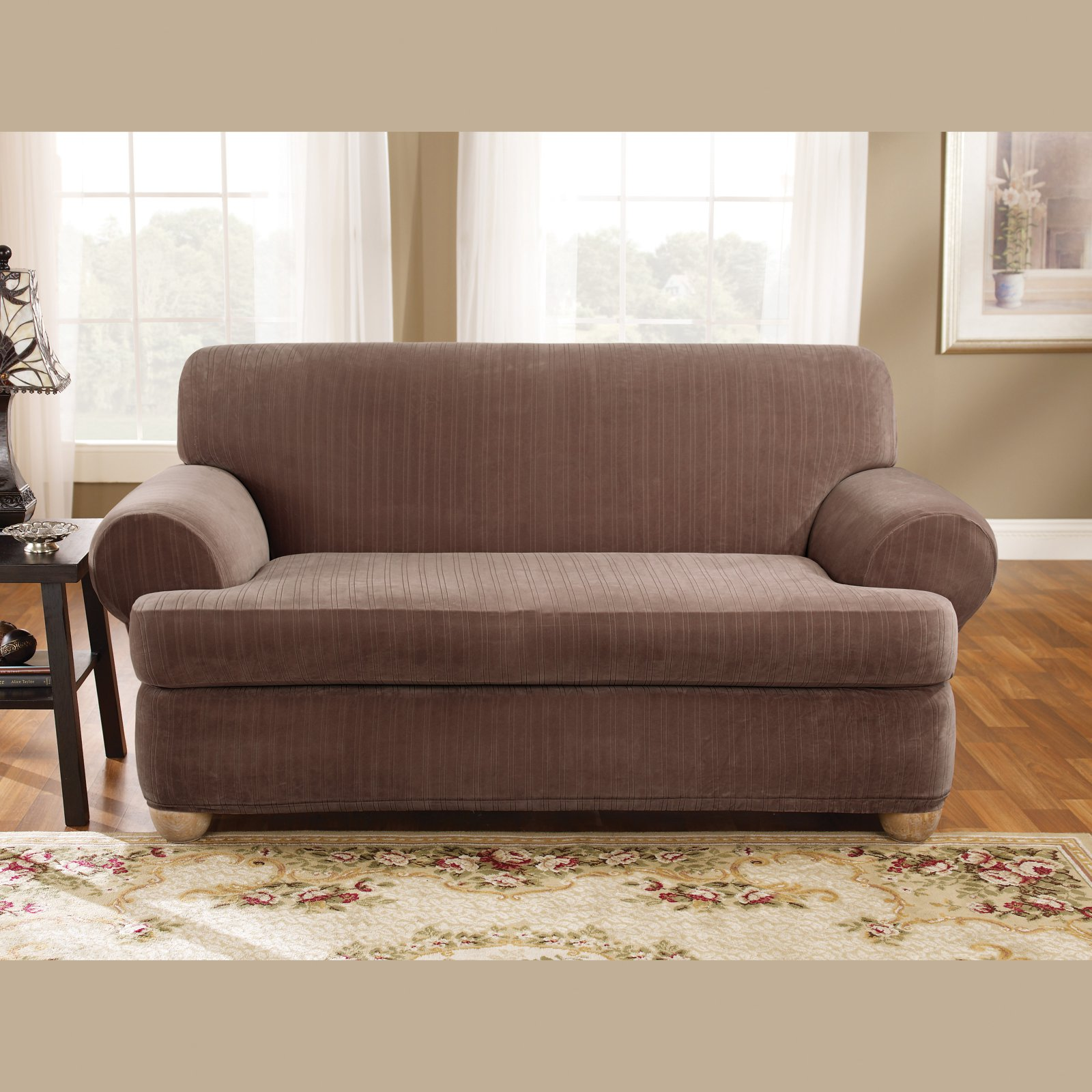 Ordinaire Sure Fit Stretch Pinstripe T Cushion Two Piece Sofa Slipcover   Walmart.com