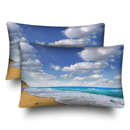 GCKG Sand Beach Tropical Sea Wave Summer Vacation Pillow Cases Pillowcase 20x30 inches Set of 2 - image 4 de 4