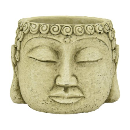 Three Hands Green Terracotta Buddha Face Planter