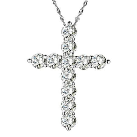 CZ  Cross Frystal Zircon Stone Pendant Silver Plated Necklace Tarnish Resistant Jewelry J-213