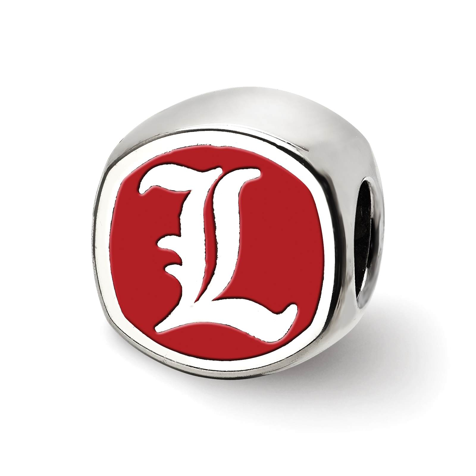 Silver Laser-cut University of Louisville Cushion Shaped Double Logo Bead Charm