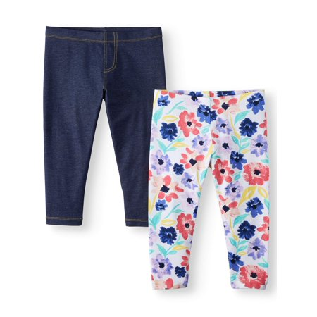 Wonder Nation Solid and Printed Tough Cotton Capri Leggings, 2-Pack (Little Girls & Big Girls) - Girls Clthing