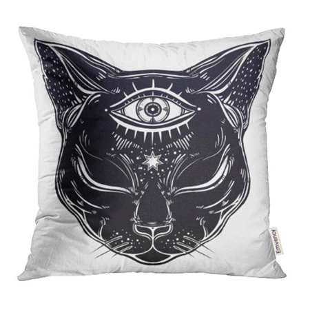 USART Black Cat Head Portrait with Moon and Three Eyes Third is Open for Halloween Tattoo Pillow Case Pillow Cover 16x16 inch Throw Pillow Covers