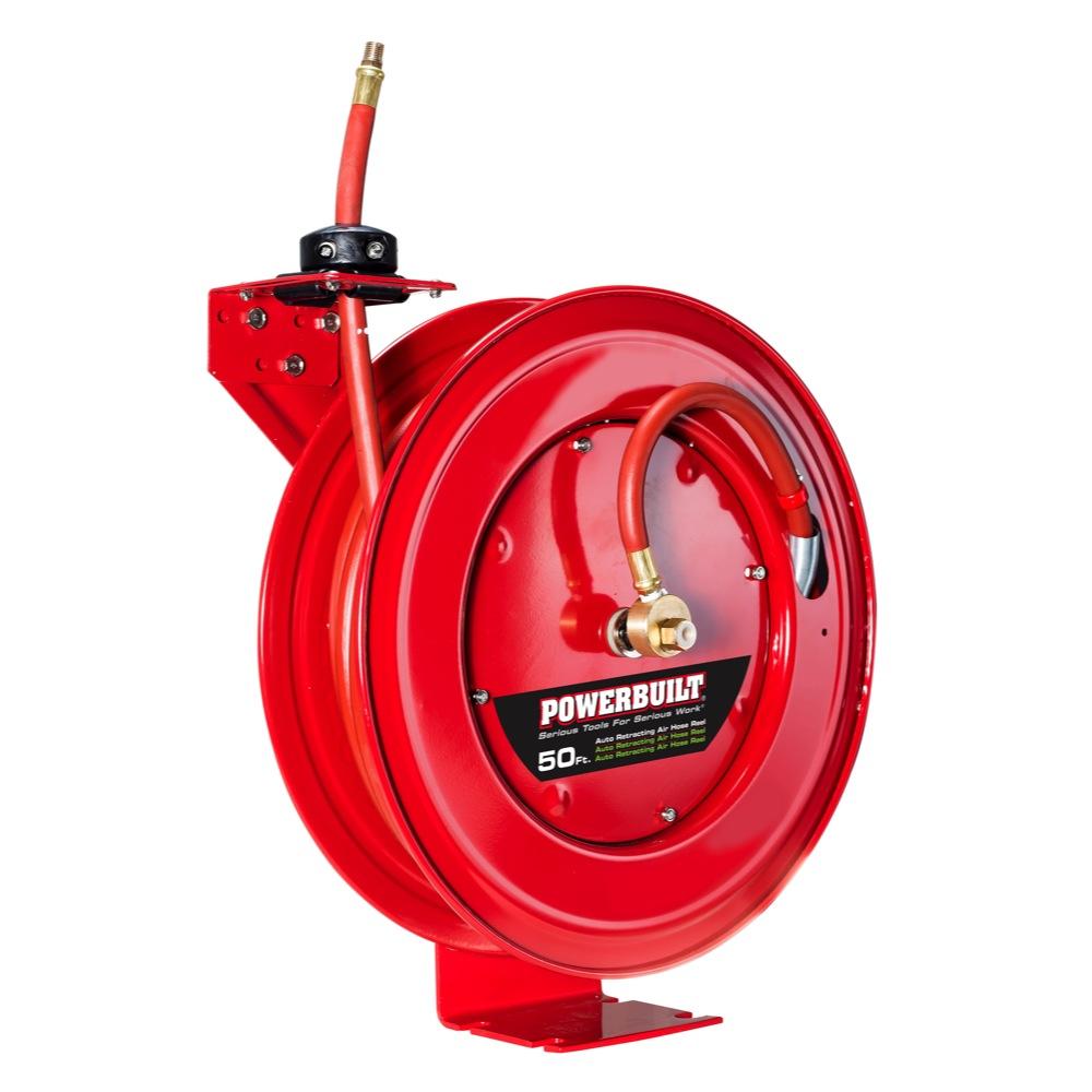 "Powerbuilt Heavy Duty Auto Retract Air Hose Reel with 3 8"" x 50' Hose 642228 by Alltrade Tools LLC"
