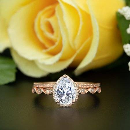Art Deco 1.5 Carat Pear Cut Moissanite Wedding Ring Set in 18k Rose Gold Over Silver Classic Ring