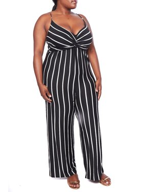 147408e2c46d Product Image Womens Plus Size Fashion Trendy Vertical Striped Sweetheart  Spaghetti Strap Jumpsuit B3170-XL-Black