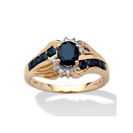 Sapphire Accent Ring (1.10 TCW Oval-Cut Sapphire and Diamond Accent Ring in Solid 10k)
