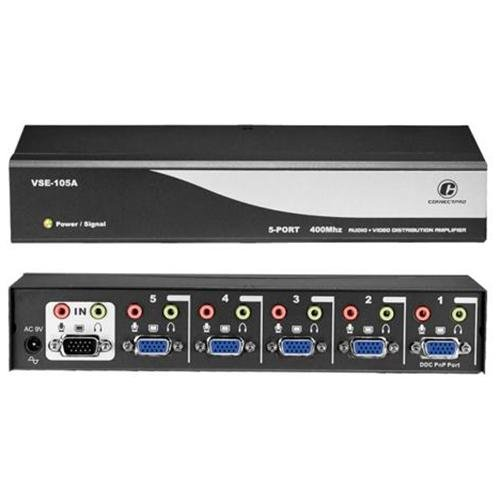 Connectpro Vse-105a, 5-port 400mhz Video/audio Splitter - 1 X D-sub (hd-15) Video In, 5 X D-sub  Video Out, 1 X Audio Line In, 5 X Audio Line Out - 640 X 480, 800 X 600, 2048 X 1536 - Vga, Sv (
