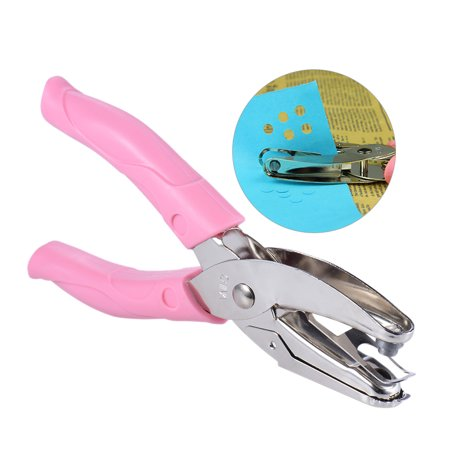 Hand-held 1-Hole Metal Paper Punch Single Round Shape Hole for Greeting Cards Scrapbook Notbook Puncher Hand Tool with Pink Grip