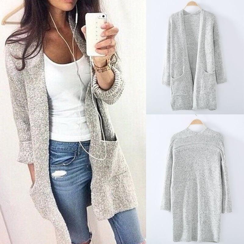 Women Long Sleeve Knitted Cardigan Loose Sweater Outwear Coat Casual Sweaters