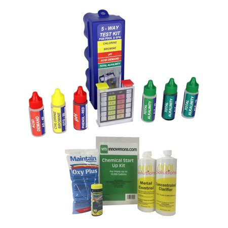 - Swimming Pool Start-up Chemical Opening Kit w/ 5-Way Water Chemical Test Kit