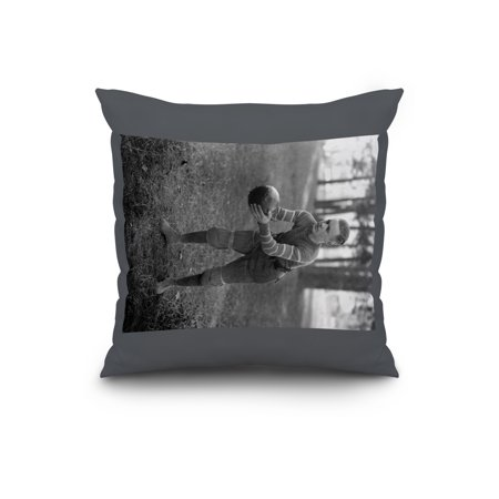 College Football Player in full gear Photograph (20x20 Spun Polyester Pillow, Custom - Border Collie Ring