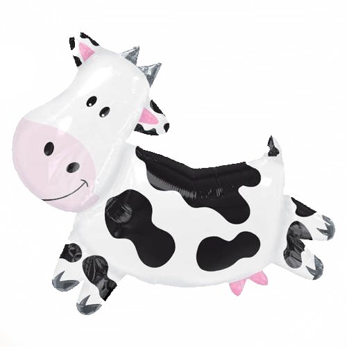 "XL 28"" Cow Super Shape Mylar Foil Balloon Farm Animal Birthday Party"