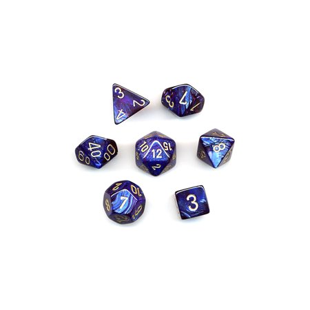 Chessex Polyhedral 7 Die Scarab Dice Set   Royal Blue With Gold Numbers  27427