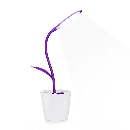 iEGrow Flexible 3 Dimming Levels USB Touch Seedling LED Desk Lamp with Pencil Holder, Pink by