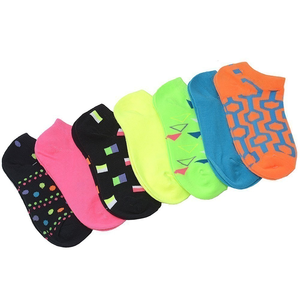 Everlast Little Girls Multi Color Plain Geometric 7 Pair Low Cut Socks 6-8