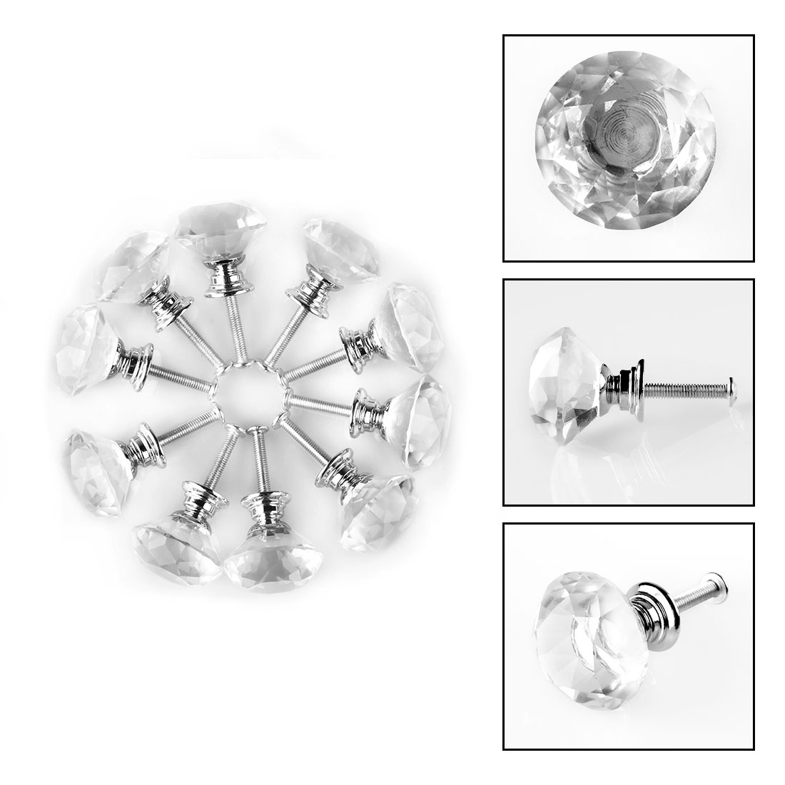 Little World Crystal Clear Glass Cabinet Dresser Knob Diamond Shape for Drawer Door Chrome Glass Cabinet Knobs Pull Handles and Home Office Kitchen DIY-20 Pcs 30MM