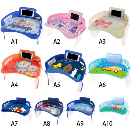 Baby Kids Snack & Play Travel Tray, Baby Kids Multi-function Car Seat Travel Tray With Pockets iPad Phone Holder - Portable Car Drawing Board Table for Baby Kids Design Car Seat Tray Table